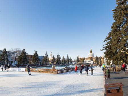 satisfied people: Moscow - November 28, 2015: A lot of satisfied people and tourists relax and skate in a large park in the ENEA winter day November 28, 2015, Moscow, Russia Editorial
