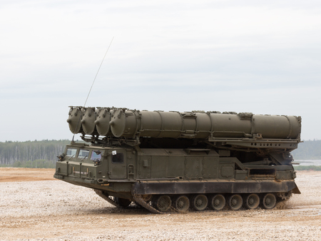 engaging: Moscow Region - June 19, 2015: Anti-aircraft missile system S-300 Favorit bystoro going on demonstrations for Kubinka polegone June 19, 2015 Moscow Region, Russia