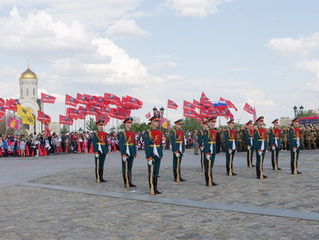 regiment: Moscow - May 6, 2016: Victory Park on Poklonnaya Hill and 154 soldiers detached commandant of the Preobrazhensky Regiment were on a holiday May 6, 2016, Moscow, Russia