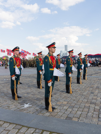 transfiguration: Moscow - May 6, 2016: Victory Park on Poklonnaya Hill and 154 soldiers detached commandant regiment of the Transfiguration at the festival May 6, 2016, Moscow, Russia Editorial