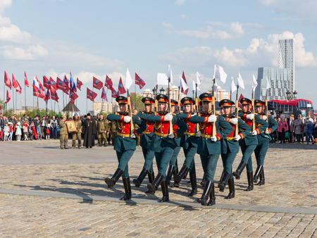 curfew: Moscow - May 6, 2016: Victory Park on Poklonnaya Hill, and a separate 154 soldiers curfew Preobrazhensky regiment marching in formation May 6, 2016, Moscow, Russia