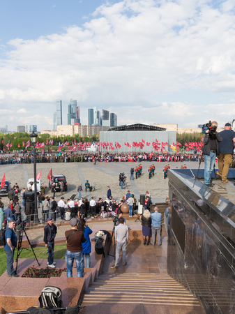 our people: Moscow - May 6, 2016: Mezhdunarony social-patriotic Poyekt our Star of the Great Victory in Victory Park on Poklonnaya Hill and the people gathered for the holiday May 6, 2016, Moscow, Russia