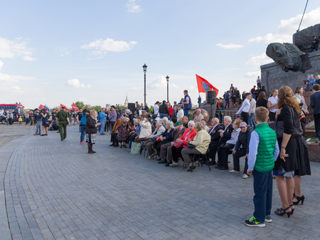 Moscow - May 6, 2016: Mezhdunarony social-patriotic Poyekt our Star of the Great Victory in Victory Park on Poklonnaya Hill and war veterans gathered for a holiday May 6, 2016, Moscow, Russia