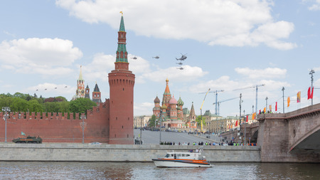 may fly: Moscow - May 7, 2016: Military helicopters during the final rehearsal of the Victory parade fly over Red Square May 7, 2016, Moscow, Russia