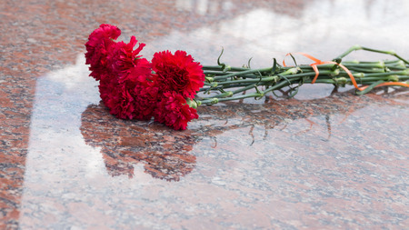 a bouquet of red carnations on a glossy red granite stone in the day of mourning