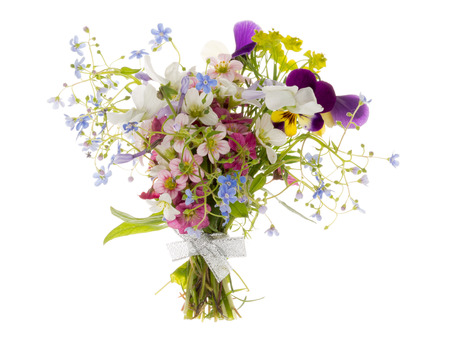 silver ribbon: many bright beautiful varietal unusual multicolored flowers in spring beautiful bouquet bound with silver ribbon isolated on white background