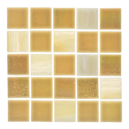 matt: beautiful square glass matt light beige and sand mosaics with blurred stripes scattered on a white background isolated Stock Photo