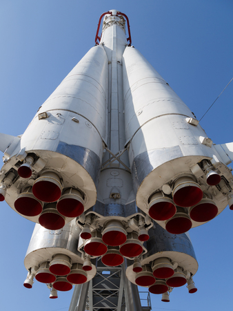 yuri: Moscow - 24 August 2015: Exhibits ENEA - space rocket Vostok, which flew the first cosmonaut - Yuri Gagarin August 24, 2015, Moscow, Russia Editorial