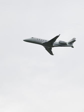 spar: Moscow - June 4, 2016: not a big passenger airplane Gulfstream G150 takes off from Vnukovo June 4, 2016, Moscow, Russia