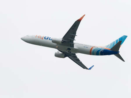 spar: Moscow - June 4, 2016: large Boeing 737-8KN (W) budget airline Flydubai takes off at the airport Vnukovo June 4, 2016, Moscow, Russia