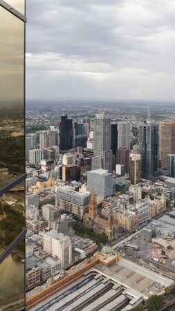 eureka: Melbourne - February 23, 2016: view of the city and the railway station, view from the tower Eureka February 23, 2015, Melbourne, Australia Editorial