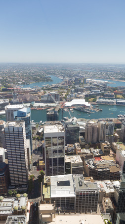 anzac bridge: Sydney - February 25, 2016: View of the city from the top of Sydney Tower, visible infrastructure of the city, sea Sydney Harbour Bridge and Anzac away February 25, 2016, Sydney, Australia