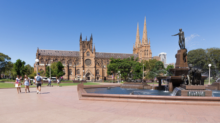 granite park: Sydney - February 25, 2016: Beautiful gothic Catholic Cathedral of St. Mary, a granite fountain Archibald and Hyde Park in fine clear weather, February 25, 2016, Sydney, Australia Editorial