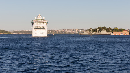radiance: Sydney - February 25, 2016: a huge sea liner Radiance of the seas came from Sydney harbor cruise and cityscape February 25, 2016, Sydney, Australia Editorial