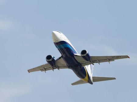 spar: Moscow region - 31 July 2016: A passenger plane Boeing 737-33R Nordavia Regional Airlines flies to Domodedovo airport and the sky July 31, 2016, Moscow Region, Russia