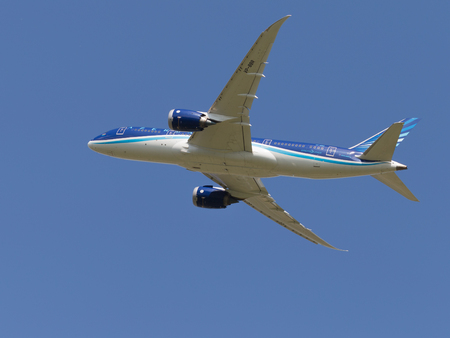 Moscow region - 31 July 2016: a beautiful passenger aircraft Boeing 757-8 AZAL Azerbaijan Airlines flies to Moscows Domodedovo airport July 31, 2016, Moscow Region, Russia