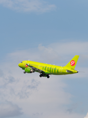 Moscow region - 31 July 2016: passenger plane Airbus A319-114 S7 Airlines flies to Domodedovo airport July 31, 2016, Moscow Region, Russia