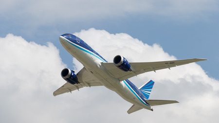 Moscow region - 31 July 2016: Big passenger airplane Boeing 757-8 AZAL Azerbaijan Airlines flies to Moscows Domodedovo airport July 31, 2016, Moscow Region, Russia