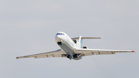 Moscow region - 31 July 2016: A passenger plane Yak-42D Saratov Airlines flies to Domodedovo airport and the sky July 31, 2016, Moscow Region, Russia