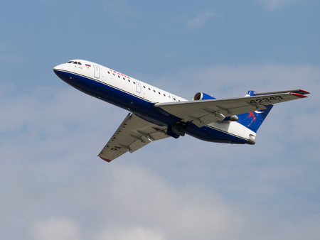 The Moscow region - 31 July 2016: A passenger plane Yak-42D Centre-Avia takes off and takes place in Domodedovo airport July 31, 2016 Moscow Region, Russia Editorial