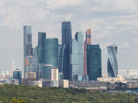 urbanism: Moscow - August 11, 2016: View from the observation deck on the Sparrow Hills to unusual skyscrapers of Moscow City, August 11, 2016, Moscow, Russia
