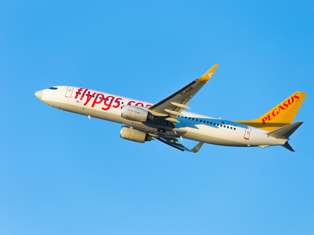 spar: Moscow - August 20, 2015: A passenger plane Boeing 737-86N (W) Pegasus Airlines flies to Domodedovo airport and on a background of blue sky August 20, 2015, Moscow, Russia Editorial