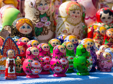 Moscow - August 11, 2016: Lots of colorful dolls dolls - Russian souvenirs on display in a souvenir shop August 11, 2016, Moscow, Russia