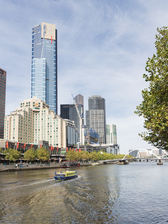 pedestrian bridge: Melbourne - February 23 2016: Eureka skydeck 88, view from Flinders Walk and Yarra river, February 23, 2016 in Melbourne, Australia