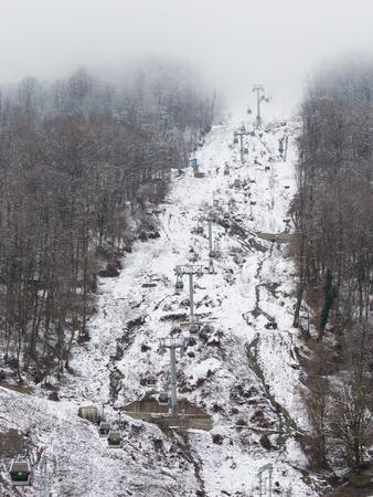 gorki: Sochi - March 28, 2017: Ski lift Gorki The city in Estosadok in the spring March 28, 2017, Estasadok, Sochi, Russia