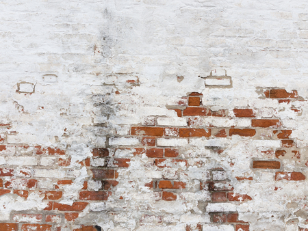 An old strong red brick wall with peeling white old dirty paint