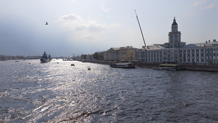 St. Petersburg - August 12, 2018: warships on the parade in honor of the Navy Day on the River Neva August 12, 2018, St. Petersburg, Russia