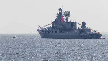 St. Petersburg - August 12, 2018: Missile cruiser Marshal Ustinov at a parade in honor of the Navy August 12, 2018, St. Petersburg, Russia