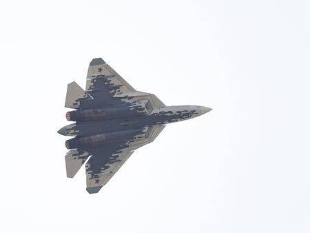 MOSCOW - 09.09.2019: A new powerful fifth-generation Su-57 military fighter aircraft flies at the MAX-2019 air show in Zhukovsky near Moscow, 1.09.2019, Moscow, Russia