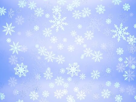 Beautiful white different eight-pointed snowflakes on a light blue gradient abstract background Stockfoto