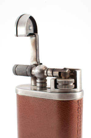 gas lighter: gas lighter with a leather covering on a white background