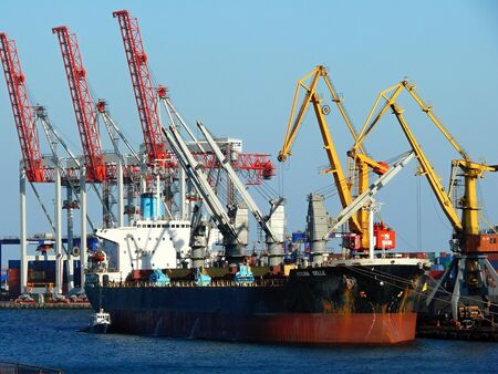 odessa: seaport and many ships in Odessa, Ukraine