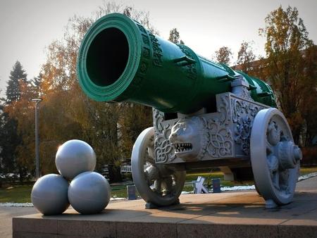 barrel bomb: ancient cannon bombs in the city of Chernihiv Ukraine Stock Photo