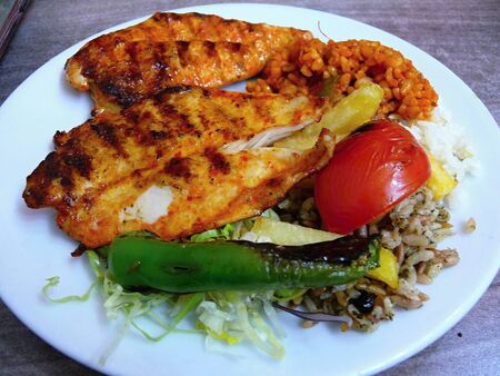 seekh: Spicy fried chicken at a cafe in the city Istanbul Turkey