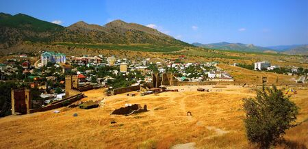 sudak: In the mountains of the Crimea and the Black Sea in the town of Sudak.