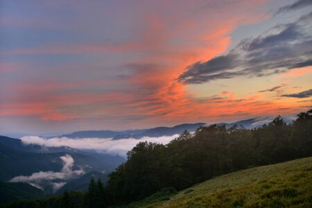 beautiful sunset in the mountains of the Carpathians