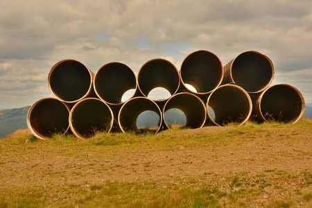 large pipe high in the Carpathian Mountains in Ukraine