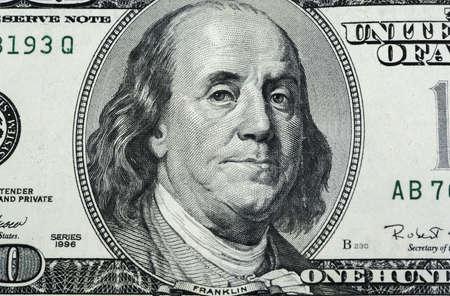 franklin: Franklin of hundred dollars close up shot Stock Photo
