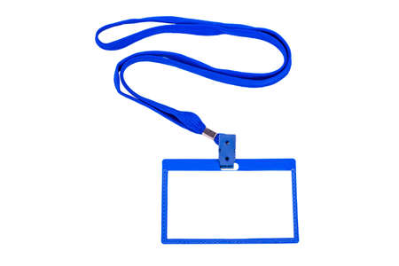 Badge with blue ribbon on white background photo