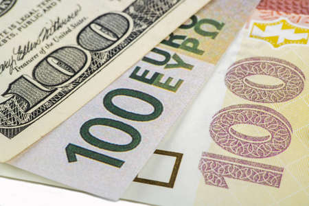 denomination: Various currencies in the denomination of 100 dollars, euros, the hryvnia. Stock Photo