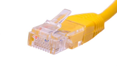 rj45: Yellow RJ-45 cable on a white background