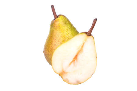 Full pear cut half on a white background photo