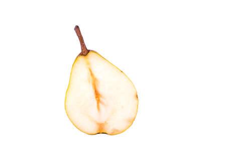half cut: Half cut pears on a white background