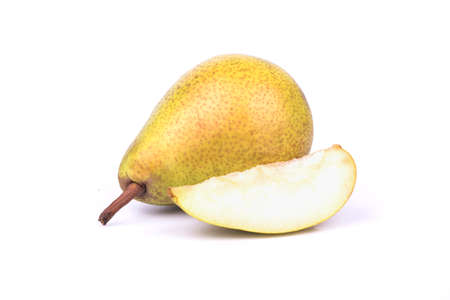 Recumbent pear with a slice on a white background photo