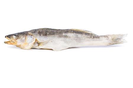 walleye: Full dried fish walleye on a white background