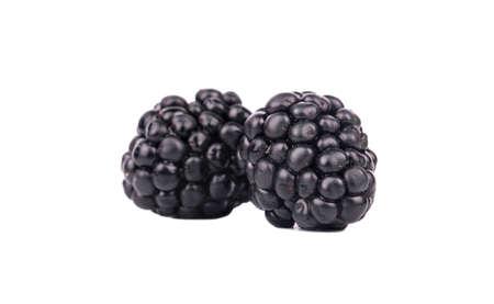 brambleberry: Two fresh blackberries isolated on white background
